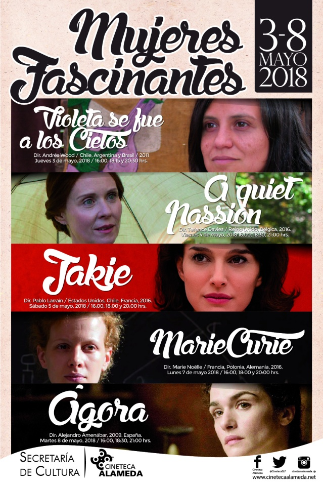 CARTEL Mujeres Fascinantes Mayo 2018 Cineteca Alameda SLP